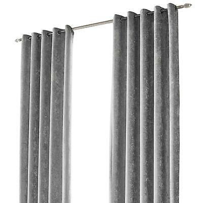 """Sienna Crushed Velvet Eyelet Ring Top Pair Of Fully Lined Curtains - Silver 90"""""""