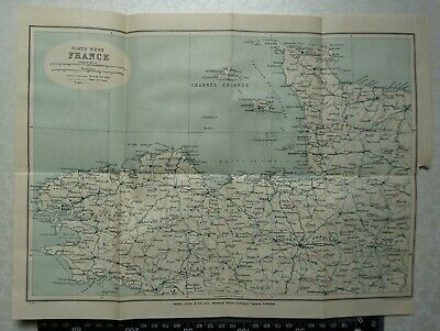 1922 Vintage Bartholomew Map of North West France, St. Malo, Brest, Caen, Rennes