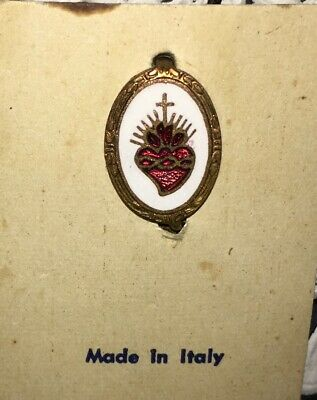 Vintage Sacred Heart of Jesus Enameled Pin Italy