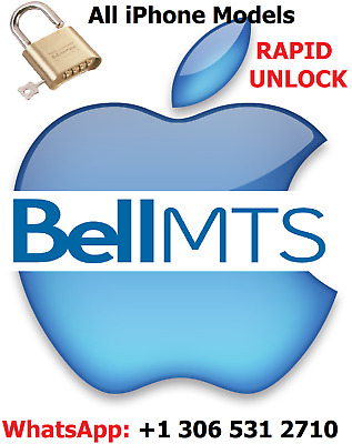 Unlock Iphone Bell Mts 6S/7/8/Plus/Xs/Xr  - All Models, Direct Source Bell-Mts