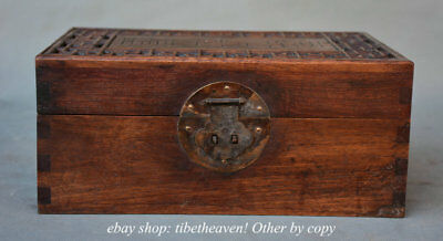 """11.2"""" Old Chinese China Huanghuali Wood Palace Carving Hollow out Jewelry Box"""