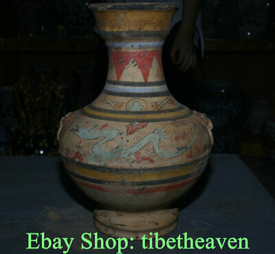 "14.8"" Old Chinese Han Dynasty Painting Ceramics Palace Dragon Beast Bottle Vase"