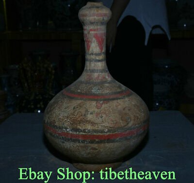 "14"" Old Chinese Han Dynasty Painting Ceramics Palace Dragon Beast Bottle Vase"
