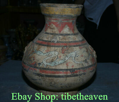 "14.4"" Old Chinese Han Dynasty Painting Ceramics Palace Dragon Beast Bottle Vase"