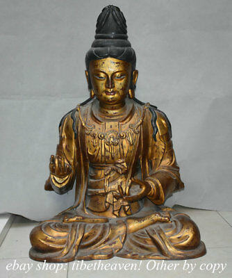 """33.6"""" Large Old Chinese Red Copper Gold Kwan-yin Guan Yin Goddess Sculpture"""