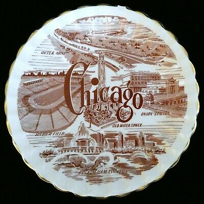 "Vintage Chicago IL Souvenir Plate 7.25"" Union Station Soldier Field Water Tower"