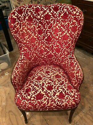 Beautiful Red Flower Patterned Antique Chair
