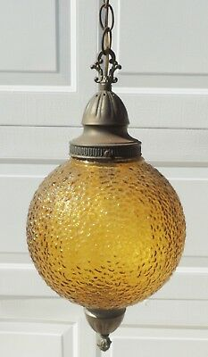 Vintage Mid Century Amber Crackle Glass Swag Chandelier Gothic Hanging Lamp 5365
