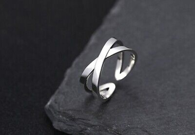 925 Sterling Silver men's women ring rings adjustable size S3924
