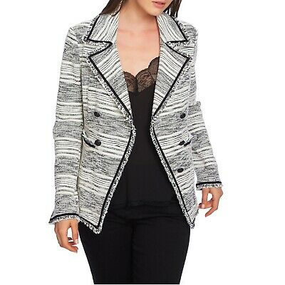 1.State Womens Double Breasted Tweed Jacket w/frayed Edges Rich Black 4 NWT $169