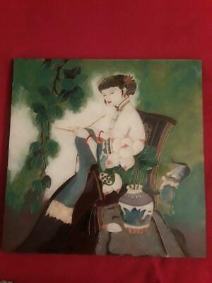 Vintage Mother of Pearl inlaid wood Oriental lacquer wall picture Girl and Cat