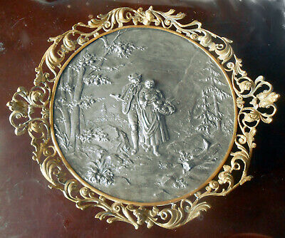 Unusual Antique 19th Century Pewter/Spelter Plaque Comport in Gilt Bronze Frame