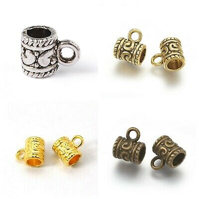 NEW! 30 pc Old World Antique Silver Gold Bail Hanger Bead For European Jewelry