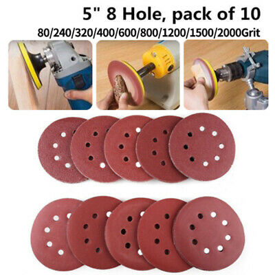 10X 5 Inch 123mm Round Shaped Sanding Disc Pads 8 Hole Sandpaper 80-2000 Grit