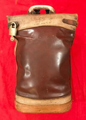 WWII ALL LEATHER U.S. ARMY MAIL BAG (1936-40) (CAN PRO CORP) w. PADLOCK/KEY 60's
