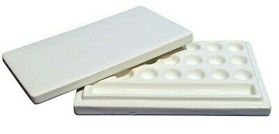 WHITE Ceramic Artist Paint Palette with lid 21 wells + gully mixing palette