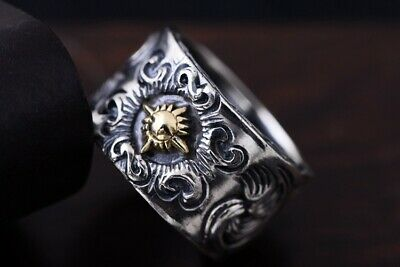 925 Sterling Silver Sun Ring Mens Biker Punk Ring Rings Jewelry S3933