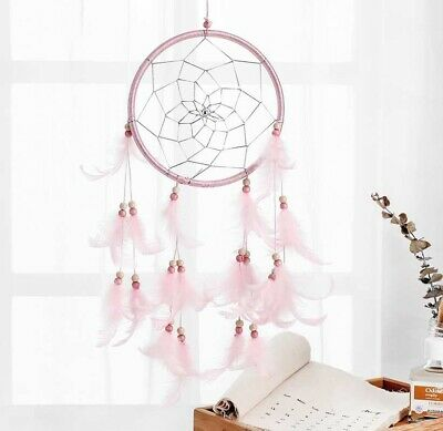Handmade Dream Catcher Net Pink feathers Wall Car Hanging Decoration Decor Craft