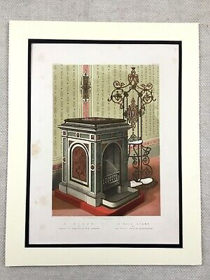 1862 Print Victorian Cast Iron Stove Oven Hall Stand Antique Chromolithograph
