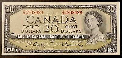 1954 - Twenty Dollar Canadian Banknote - 20$ Bank Of Canada