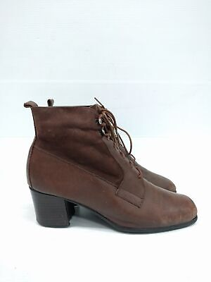 Sz 36 Vintage Ladies Brown Classic ARIANE Granny Lace up leather ankle boots