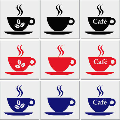 COFFEE CUP Tile Stickers Kitchen Cups Vinyl Wall Art Transfer Decal AD73