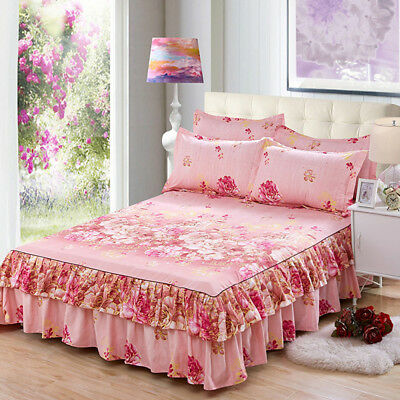 Rural Style Floral Fitted Sheet Cover Polyester Bed Skirt Queen Size AU HOT