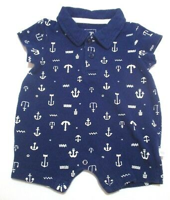 Infant Boys Rosie Pope Navy Blue & White Pique Anchor Shortall Outfit Size 0-3 M