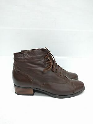 Sz 36 Vintage Ladies Brown Grunge Granny Lace up soft leather ankle boots