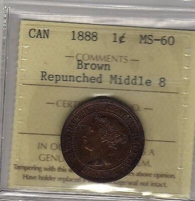 1888 Canada Large Cent Coin. ICCS MS-60 Repunched Middle 8