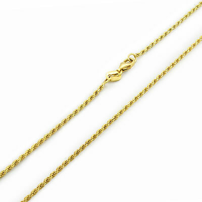 "14K Yellow Gold Solid 1.8mm Diamond Cut Rope Link Chain Pendant Necklace 16""-30"""