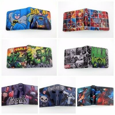 Lot DC Marvel Comics Coin Wallet The Punieher Hulk Batman Deadpool Short Purse