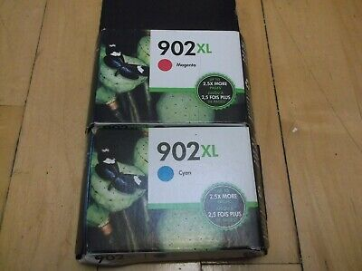 2 Brand New Genuine HP Ink Cartridges 902XL Cyan / Magenta Oct 2020 Free Ship