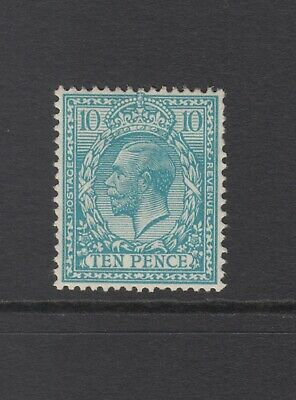 GB KGV 10d Turquoise-Blue SG394 Ten Pence King George V 1913 Mint Hinged Stamp