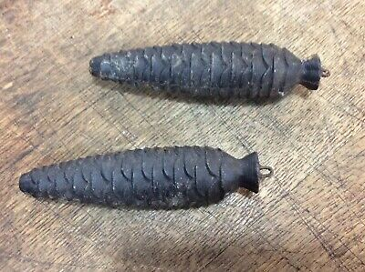 Pair of Vintage Cast Iron Cuckoo Clock Pine Cone Weights 1 lb 6 oz. each