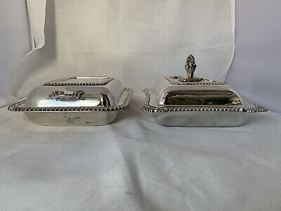 ANTIQUE Vintage pair of SILVER PLATED LIDDED SERVING DISHES one by HARRISON Bros