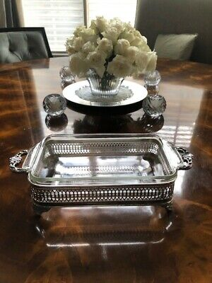 Silver Plate Footed Casserole with Glass Insert