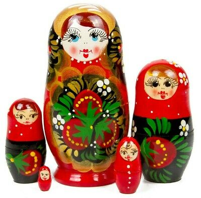 "4"" Russian Nesting Dolls Matryoshka Hand Painted 5 pcs w/ Khokhloma Artwork"