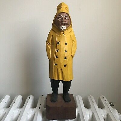 Vintage Wood Carved Fisherman Wooden Fishing Statue GUC Hand Carved