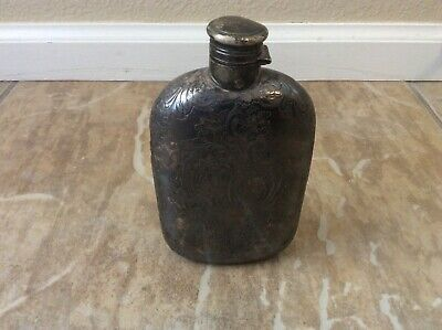 Large Antique Sterling Silver Heavy Overlay Glass Flask