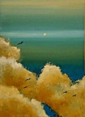 ACEO ORIGINAL Cloudscape Sunset Birds Nature Clouds Sky Miniature Art ATC HYMES