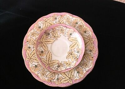 Royal Standard Bone China Saucer Fruit Plate England Pink With Leaves Gold Trim