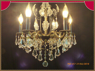 Vintage Antique Brass Bronze Chandelier Superb Crystals Black Accents Stunning!
