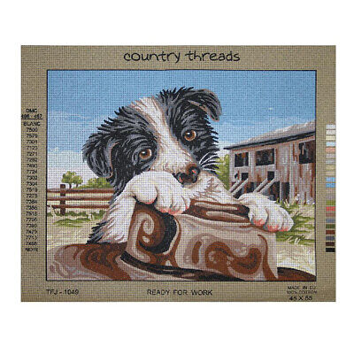 Country Threads Tapestry Printed READY FOR WORK Dog New TFJ-1049