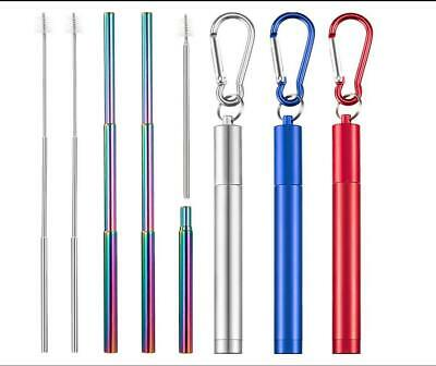 Straw Portable Stainless Steel Drinking Telescopic Straight Reusable Washable