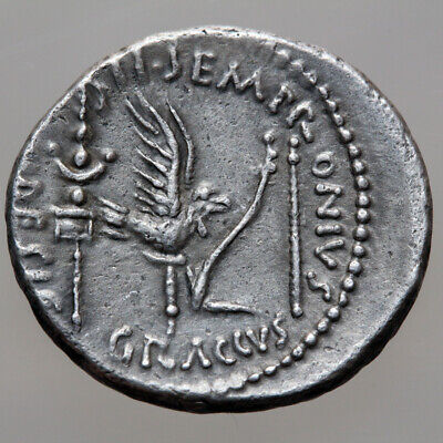 Roman coin Julius Caesar. 40 BC. AR Denarius. S-C across field, laureate head of