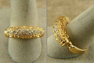 Ring Byzantine Gold Yellow Laminated with Stones of Cubic Zirconia