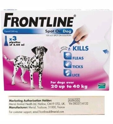 Frontline Spot On Pest Treatment for Large Dogs 20-40kg - 3 pipettes - AVM-GSL