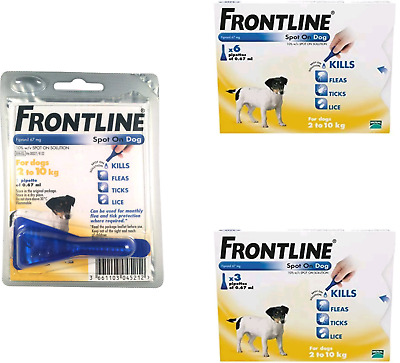 Frontline Spot On Flea and Tick treatment for Small Dogs 1, 3,  6 Pipettes