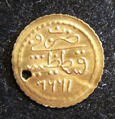 Ottoman gold hammered Zeri Mahbub coin dated 1223/1808 references Constantinople